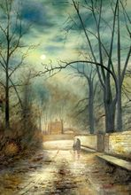 "JOHN ATKINSON GRIMSHAW MOONLIT LANE 24X36"" OIL PAINTING REPRODUCTION 001"