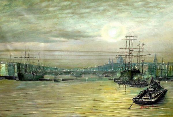 "JOHN ATKINSON GRIMSHAW LONDON BRIDGE NIGHT 24X36"" OIL PAINTING REPRODUCTION – image 1"