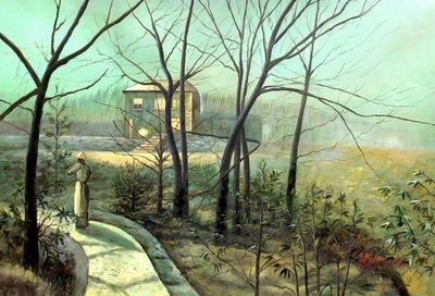 "JOHN ATKINSON GRIMSHAW WOMAN ON A PATH BY A COTTAGE 24X36"" OIL PAINTING REPRODUCTION – image 1"