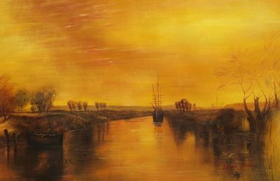 "JOSEPH MALLORD TURNER - CHICHESTER CANAL 24X36"" OIL PAINTING REPRODUCTION – image 1"