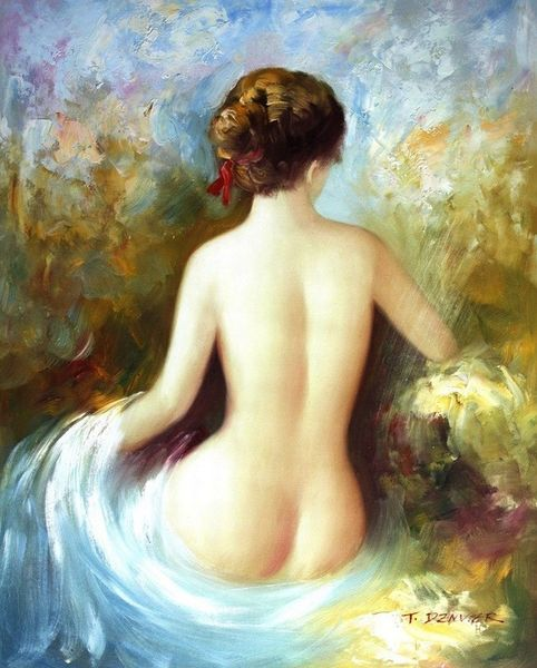 """MODERN ART - SEATED NUDE 16X20 """" OIL PAINTING"""