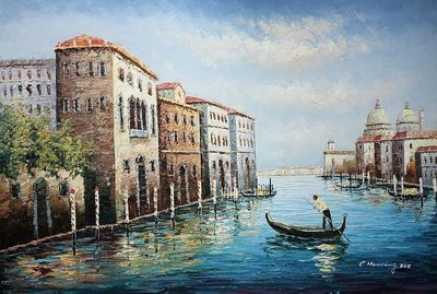 "GONDOLIER IN VENICE 24X36 "" OIL PAINTING  – image 1"