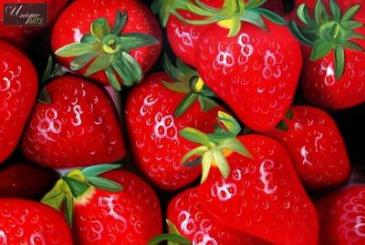 "MODERN ART  STRAWBERRY COMPOSITION 24X36 "" ORIGINAL OIL PAINTING – image 1"