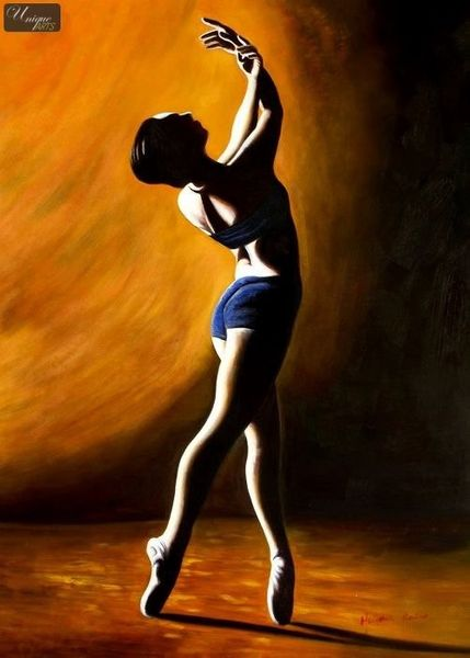"MODERN ART- THE BALLET DANCER 32x44 "" ORIGINAL OIL PAINTING  – image 1"