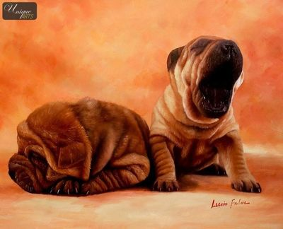 "MODERN ART -  YAWNING SHAR PEI PUPPIES 20x24 ""  ORIGINAL OIL PAINTING – image 1"
