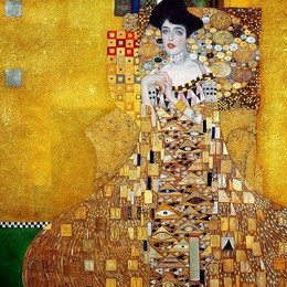 """GUSTAV KLIMT ADELE BLOCH BAUER 48X48 """" OIL PAINTING REPRODUCTION IN HIGH QUALITY – image 2"""