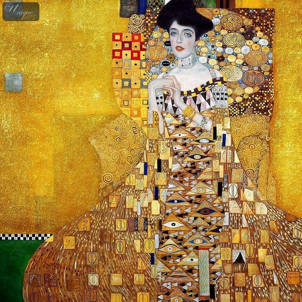 "GUSTAV KLIMT ADELE BLOCH BAUER 48X48 "" OIL PAINTING REPRODUCTION IN HIGH QUALITY – image 1"