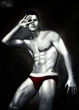 "MALE NUDE ART - MALE MODEL  POSING 32x44 "" ORIGINAL OIL PAINTING  001"