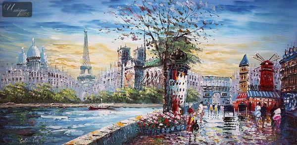 """MODERN ART -  PARIS STREET SCENE 24X48 """" MODERN ART -  ART"""