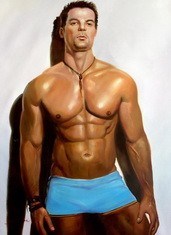 "MALE NUDE ART - MALE MODEL  POSING 32x44 "" ORIGINAL OIL PAINTING  – image 2"