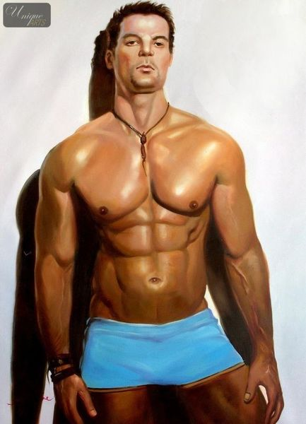 "MALE NUDE ART - MALE MODEL  POSING 32x44 "" ORIGINAL OIL PAINTING"