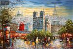 "MODERN ART -  PARIS STROLL BY THE MOULIN ROUGE 24X36 "" ORIGINAL OIL PAINTING 001"