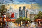 """MODERN ART -  PARIS STROLL BY THE MOULIN ROUGE 24X36 """" ORIGINAL OIL PAINTING – image 2"""