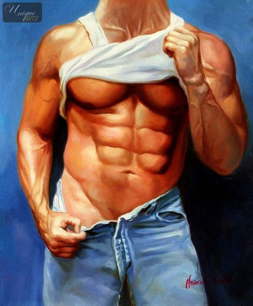 "MALE NUDE ART -  SIXPACK IN BLUE JEANS 20x24 "" ORIGINAL OIL PAINTING"