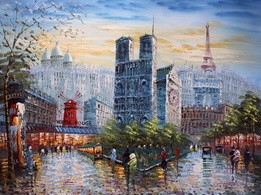 "MODERN ART -  PARIS AT SUMMER 36X48 "" MODERN ART -  ART  – image 2"