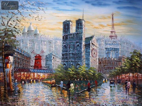 "MODERN ART -  PARIS AT SUMMER 36X48 "" MODERN ART -  ART"