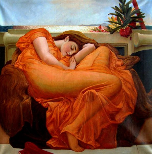 "LORD FREDERIC LEIGHTON - FLAMING JUNE - 48x48 "" OIL PAINTING REPRODUCTION MUSEUM QUALITY"