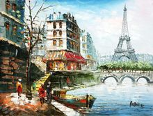 "MODERN ART - PARIS EIFFEL TOWER - 12x16 "" OIL PAINTING REPRODUCTION 001"