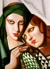 "HOMAGE TO TAMARA DE LEMPICKA - THE GREEN TURBAN 32x44 "" OIL PAINTING REPRODUCTION – image 2"