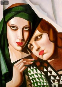 "HOMAGE TO TAMARA DE LEMPICKA - THE GREEN TURBAN 32x44 "" OIL PAINTING REPRODUCTION – image 1"