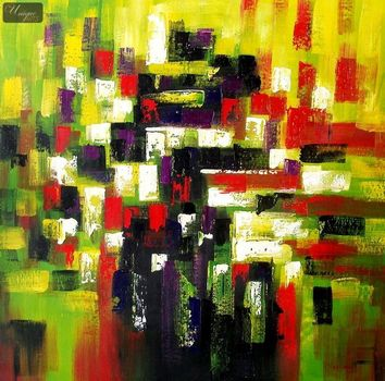 "ABSTRACT ART - AUTMUN IN HYDE PARK  48X48 "" ORIGINAL OIL PAINTING – image 1"