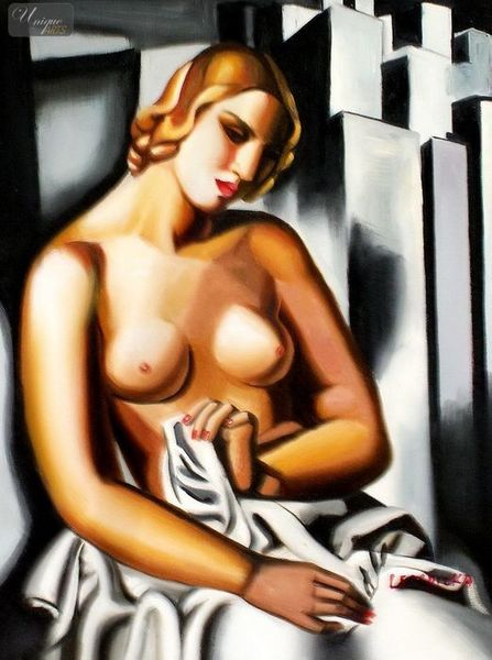 "HOMAGE TO T. DE LEMPICKA - NUDE WITH SKYSCRAPERS  12X16 "" OIL PAINTING REPRODUCTION – image 1"