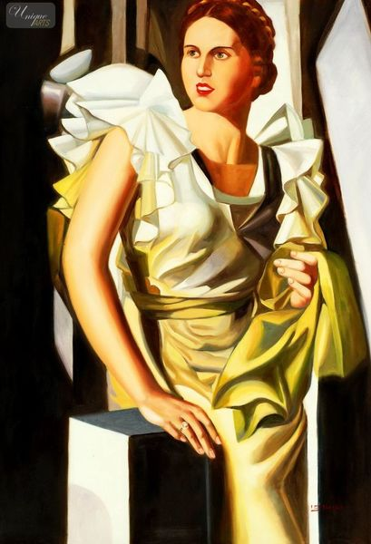 "HOMAGE TO T. LEMPICKA - PORTRAIT OF A YOUNG WOMAN WITH COLUMN  32X44 ""OIL PAINTING REPRODUCTION"