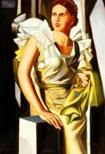 "HOMAGE TO T. LEMPICKA - PORTRAIT OF A YOUNG WOMAN WITH COLUMN  32X44 ""OIL PAINTING REPRODUCTION 001"
