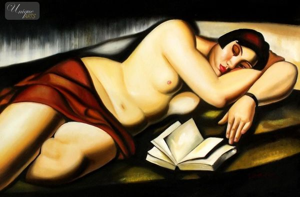 """HOMAGE TO T. DE LEMPICKA - RECLINING NUDE WITH BOOK  24X36 """" OIL PAINTING REPRODUCTION"""