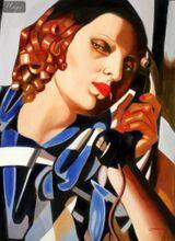 "HOMAGE TO TAMARA DE LEMPICKA - THE PHONE II  32X44 "" OIL PAINTING REPRODUCTION 001"