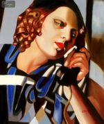 "HOMAGE TO TAMARA DE LEMPICKA - THE PHONE II  20X24 "" OIL PAINTING REPRODUCTION 001"