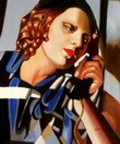 "HOMAGE TO TAMARA DE LEMPICKA - THE PHONE II  20X24 "" OIL PAINTING REPRODUCTION – image 2"
