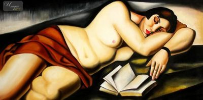 "HOMAGE TO T. DE LEMPICKA - RECLINING NUDE WITH BOOK  24X48 "" OIL PAINTING REPRODUCTION – image 1"