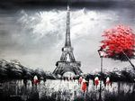 "MODERN ART - EIFFEL TOWER IN PARIS 36x48 "" ORIGINAL OIL PAINTING 001"