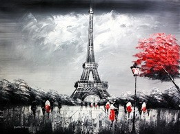"MODERN ART - EIFFEL TOWER IN PARIS 36x48 "" ORIGINAL OIL PAINTING"