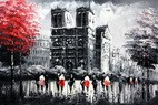 "MODERN ART - PARIS NORTE DAME 24x36 "" CONTEMPORARY OIL PAINTING 001"