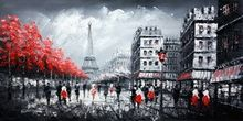 "MODERN ART - EIFFEL TOWER IN PARIS 24x48 "" ORIGINAL OIL PAINTING 001"