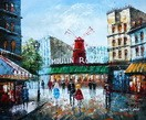 "MODERN ART - PARIS MOULIN ROUGE 20x24 "" CONTEMPORARY OIL PAINTING 001"