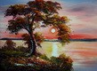 """MODERN - TREE AT SUNRISE 12x16 """" CONTEMPORARY OIL PAINTING 001"""
