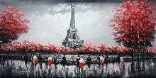 "MODERN ART - EIFFEL TOWER IN PARIS 24x48 "" ORIGINAL OIL PAINTING 001"