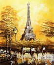 "MODERN ART - EIFFEL TOWER IN PARIS 20x24 "" ORIGINAL OIL PAINTING 001"