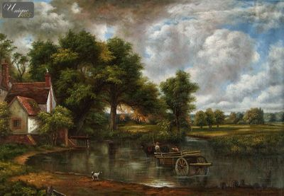 "JOHN CONSTABLE - THE HAY WAIN 24x36 "" REPRODUCTION OIL PAINTING – image 1"