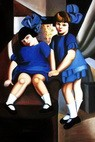 "HOMAGE TO T. DE LEMPICKA - TWO GIRLS WITH BLUE RIBBONS 24X36 "" FINE OIL PAINTING – image 2"