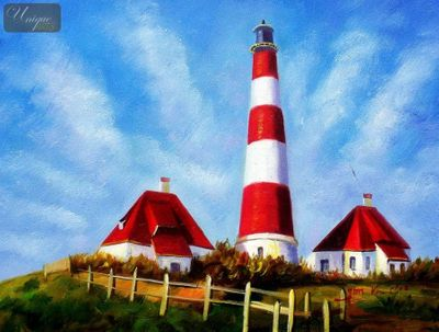 "MODERN ART - LIGHTHOUSE BY THE NORTH SEA 12X16 "" ORIGINAL – image 1"