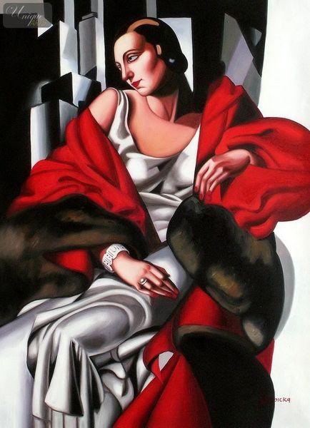 """HOMAGE TO T. DE LEMPICKA - PORTRAIT OF MADAME BOUCARD 32X44 """" ART DECO OIL PAINTING"""
