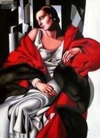 "HOMAGE TO T. DE LEMPICKA - PORTRAIT OF MADAME BOUCARD 32X44 "" ART DECO OIL PAINTING 001"