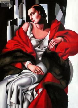 "HOMAGE TO T. DE LEMPICKA - PORTRAIT OF MADAME BOUCARD 32X44 "" ART DECO OIL PAINTING"
