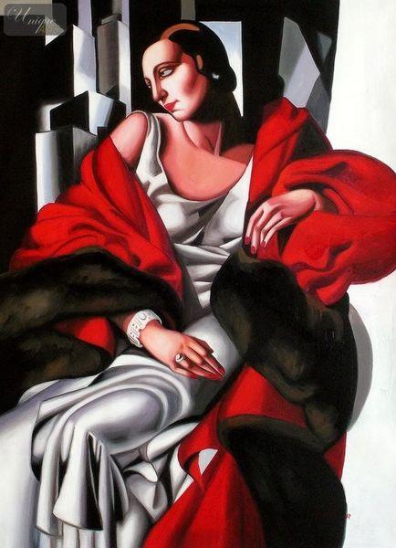 """HOMAGE TO T. DE LEMPICKA - PORTRAIT OF MADAME BOUCARD 32X44 """" ART DECO OIL PAINTING – image 1"""