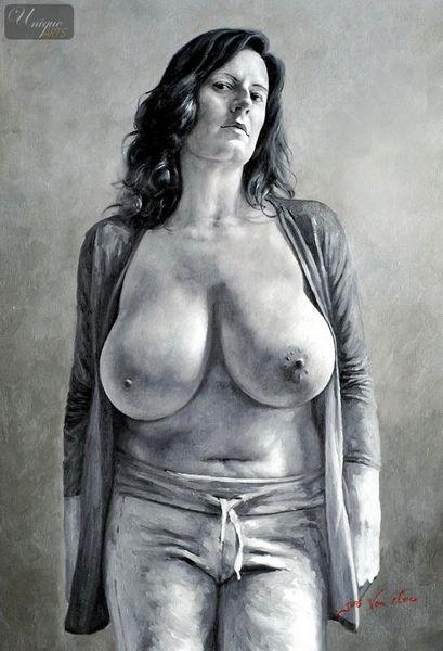 "MODERN ART BBW NUDE BY M. LORENZ 24X36 "" HIGH QUALITY ORIGINAL"