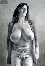 "MODERN ART BBW NUDE BY M. LORENZ 24X36 "" HIGH QUALITY ORIGINAL 001"